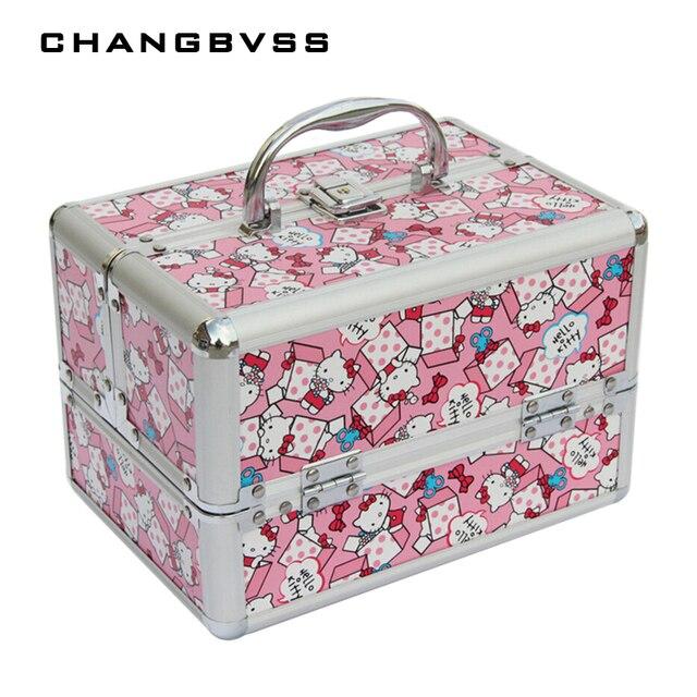 Cute Cat Pattern Makeup Organizer ,Multi Tiers Cosmetic Organizer,Portable  Beauty Vanity Case ,Women Storage Box,porta joias