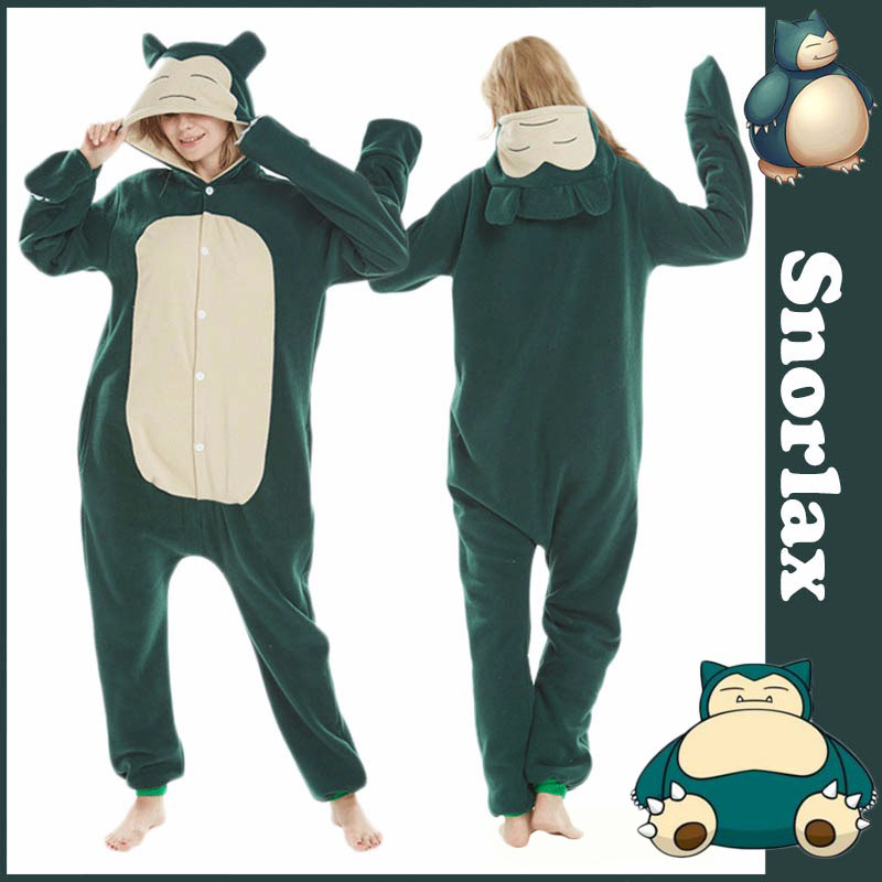 Anime Pokemon Snorlax Pajamas Homewear Pajamas Daily Home Sleepwear Unisex Onesies Robe Fleece Jumpsuits For Adults