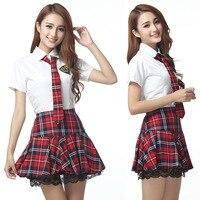 4 Pcs Mangas Curtas Sailor Uniforme Escolar Japonês Menina Vestido Vermelho/Tibetano Azul Saia Xadrez Uniformes Trajes Coreano para menina