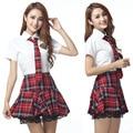 4 Unids Japonés Uniforme Escolar Marinero de La Niña de Manga Corta Vestido Rojo/Tibetano Azul Plaid Falda Uniformes Trajes Coreano para chica