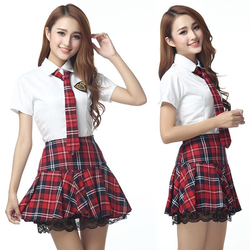 2ca3cad60d 4 unids manga corta japonés uniforme escolar marinero rojo tibetano azul  falda a cuadros uniformes coreano trajes para chica