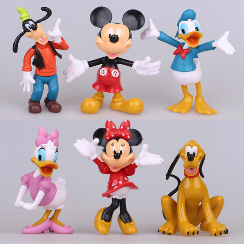 Disney Fashion Kid Toys Big Size  8-10cm PVC Mickey Mouse Clubhouse Action Figures Set 6 Pcs For Children'S Toy Juguetes