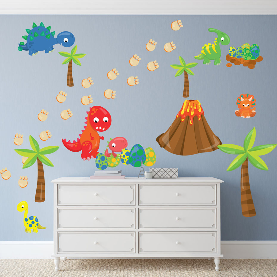 Aliexpress.com : Buy Boy's Nursery Dinosaur And Egg Funny Wall Stickers  Kids Wall Art PVC Removable Wallpaper Living Room Bedroom Decals Home Decor  from ...