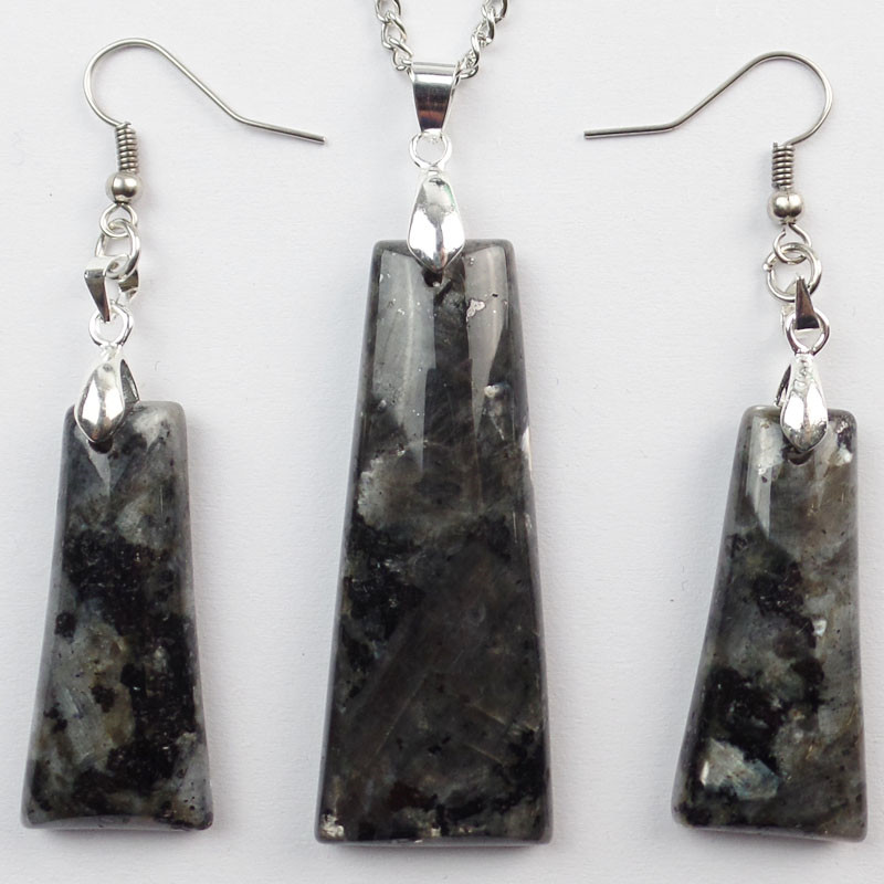 (Free Shipping) Natural Larvikite Trapezoid Earrings & Necklace Set SHX1396