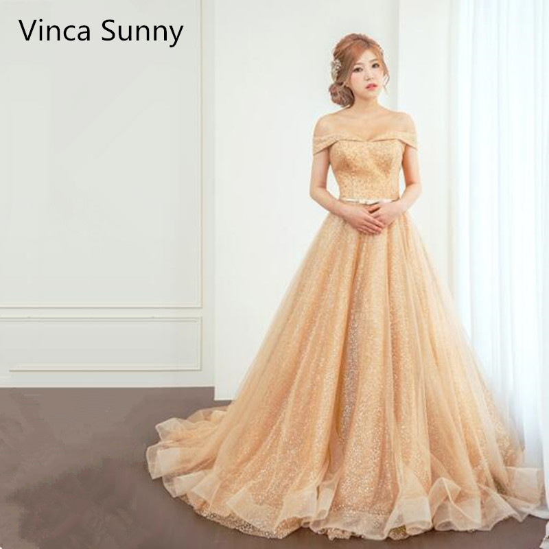 Vinca Sunny Luxurious A Line Long Evening Dress Off Shoulder Gold Sequined Prom Dresses Robe De Soiree 2019