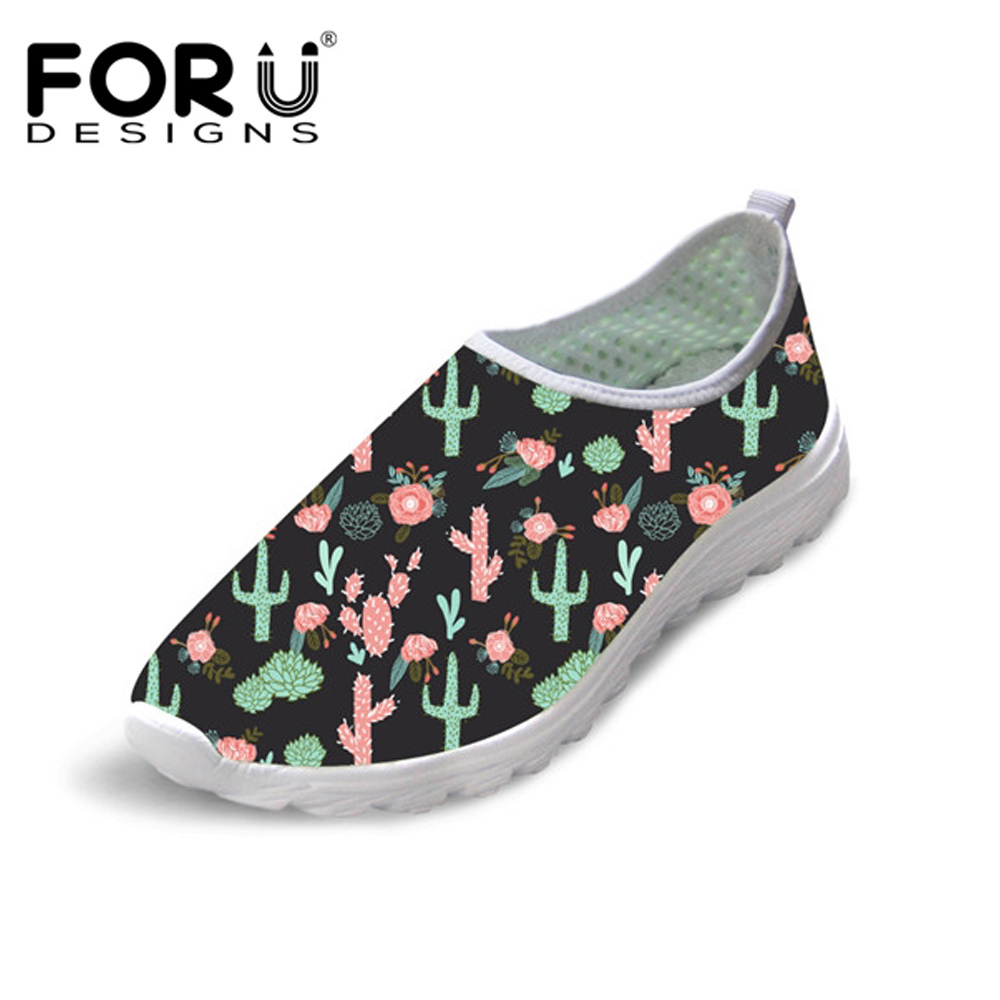 FORUDESIGNS Cactus Flower Print Summer Women's Flats Shoes Loafers Women Casual Sneakers Super Light Slip On Shoes for Ladies forudesigns cartoon shark print women flats shoes sneakers casual women s summer mesh shoes beach girls loafers slip on zapatos