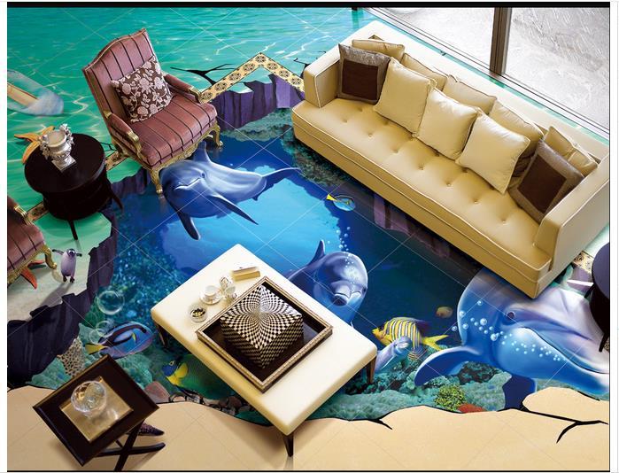 dlaždice pro mořské dno - 3D wallpaper custom 3d flooring painting wallpaper bottom of the sea bathroom floor tile 3 d art wall 3d living room decoration