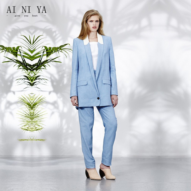 Light Sky Blue Women Casual Office Business Suits Formal Work Wear Uniform Styles Elegant Pant Suits Long Length Custom Made