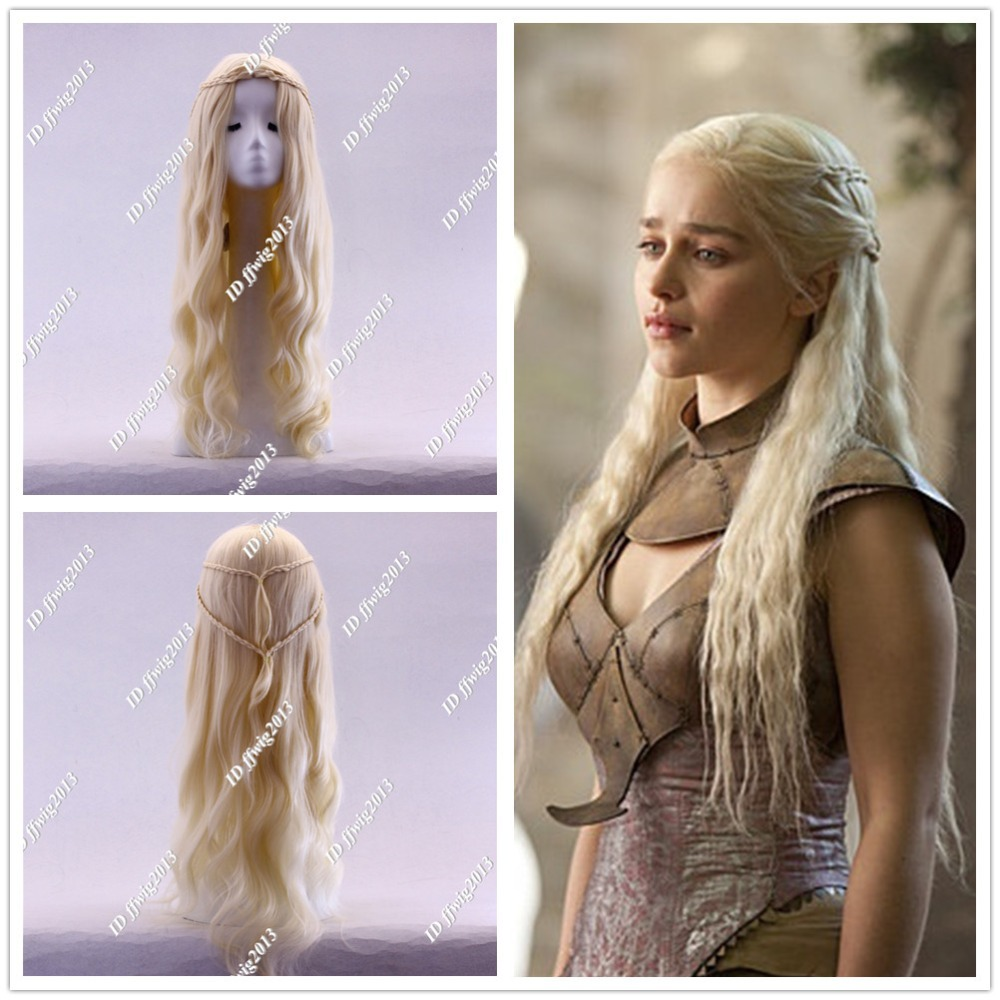 Game Thrones Daenerys Targaryen Blonde Fluffy Long Synthetic Cosplay Wig +a wig cap - min cheng store