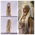 Hot sell Game of Thrones Daenerys Targaryen Blonde Fluffy Long Synthetic Cosplay Wig +a wig cap