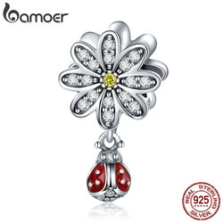 BAMOER Trendy 925 Sterling Silver CZ Daisy Flower Ladybug Pendant Charms fit Bracelet Necklace DIY Accessories Jewelry SCC727