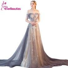 Off the Shoulder Prom Dresses Long 2019 Tulle Appliqued Elegant Dress Evening Party Vestidos De Gala
