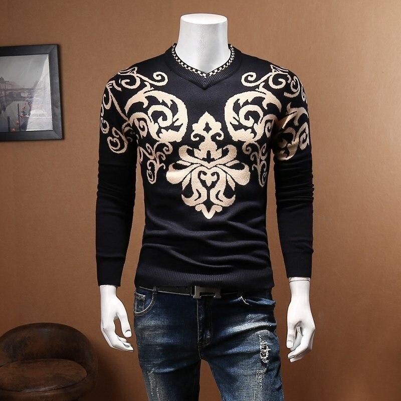 Paisley Imprimer Motif Chandail Hommes Slim Fit De Luxe Mâle Chandail D'affaires Décontractée Automne Suéter Hombre Chompas Par Hombre 5xl