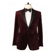 Fashion Groom's latest green collar collar a button jacket design groom dress red velvet men's suit married best men's jacket