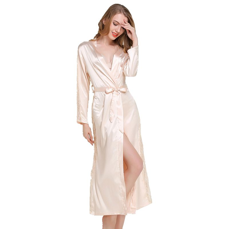 4ec026c331 Detail Feedback Questions about 2018 Brand New Long Women Silk Robe Sexy  Solid Three Quarter Summer Bath Robe Mid Calf Satin Nightgowns Dressing  Home Wear ...