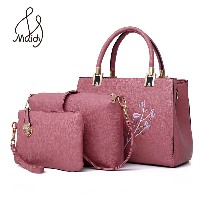 Luxury Designer Shoulder Large Bags Girls Tote Ladies 3 Pcs Composite Set For Women Bag Flower Embroidery Handbags Pu Leather