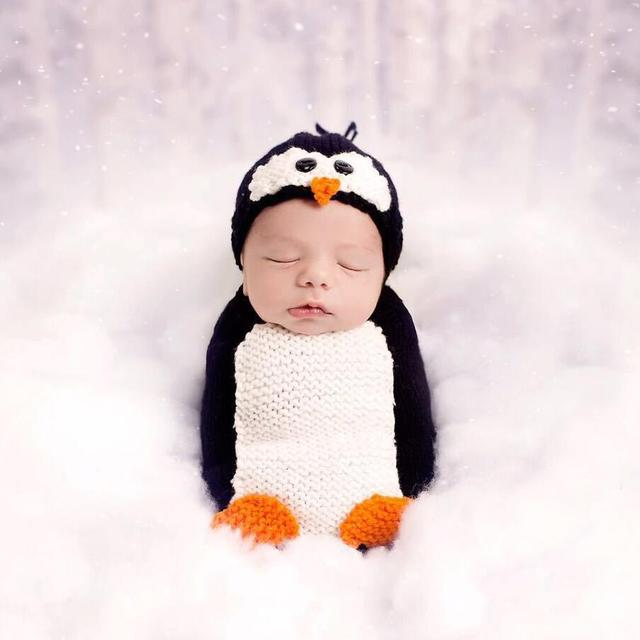2pcs Cute Penguin Newborn Baby Photography Props Beanies Hat Winter ...