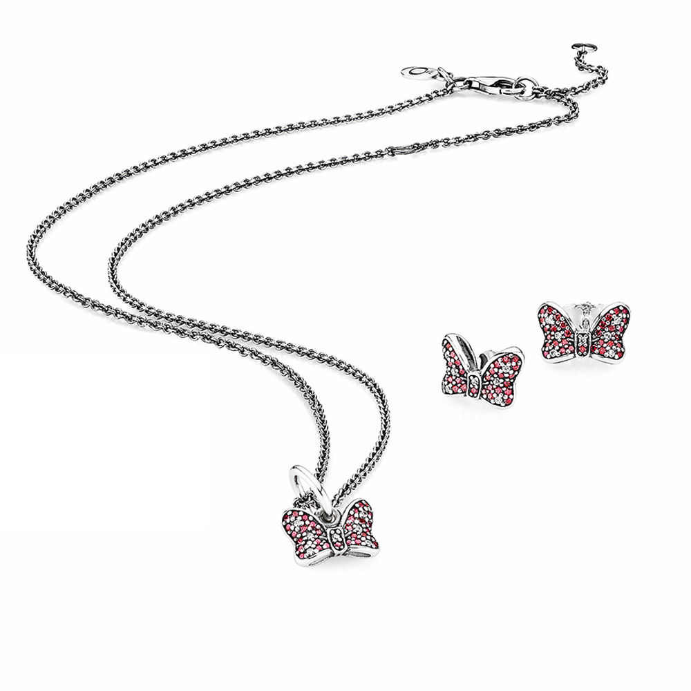 100% 925 Sterling Silver SALE - BOW JEWELLERY SET Fit Charm Original Necklace Jewelry A Set Of Prices