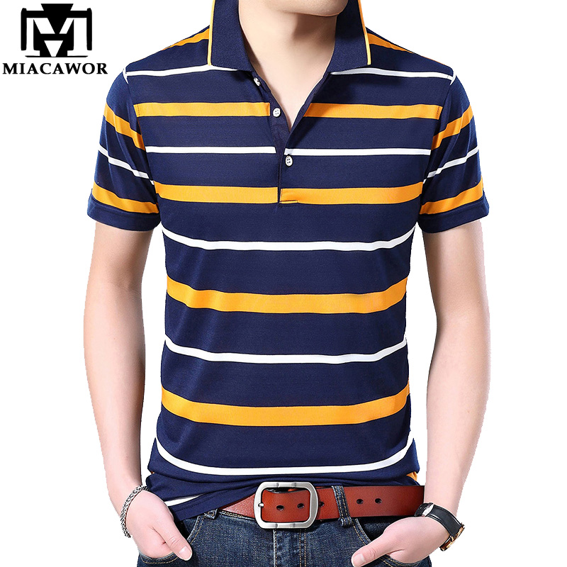 MIACAWOR New Original   Polo   shirts Men Striped Tee shirt Homme Slim Fit Camisa Summer Short-sleeve Camiseta Masculina T753