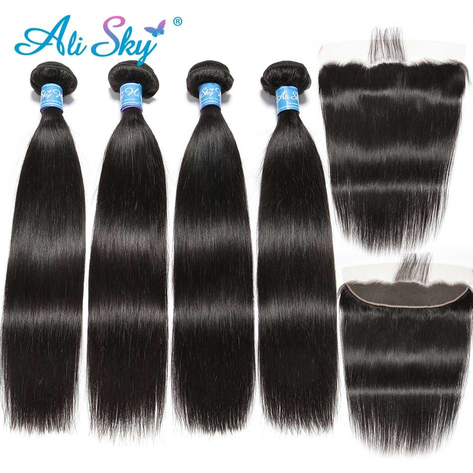 Ali Sky Brazilian Straight 4 Bundles With Frontal Closure Human Hair 13x4 Ear To Ear Lace Frontal Closure With Bundles Remy