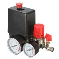 Air Compressor Pressure Valve Switch Manifold Relief Regulator Gauges 7 25 125 PSI 240V 15A