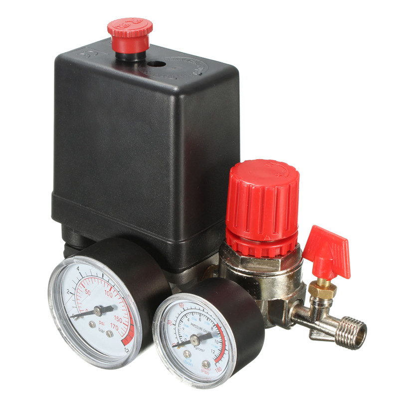 Air Compressor Pressure Valve Switch Manifold Relief Regulator Gauges 7.25-125 PSI 240V 15A air compressor pressure valve switch manifold relief regulator gauges 90 120 psi 240v 17x15 5x19 cm hot sale