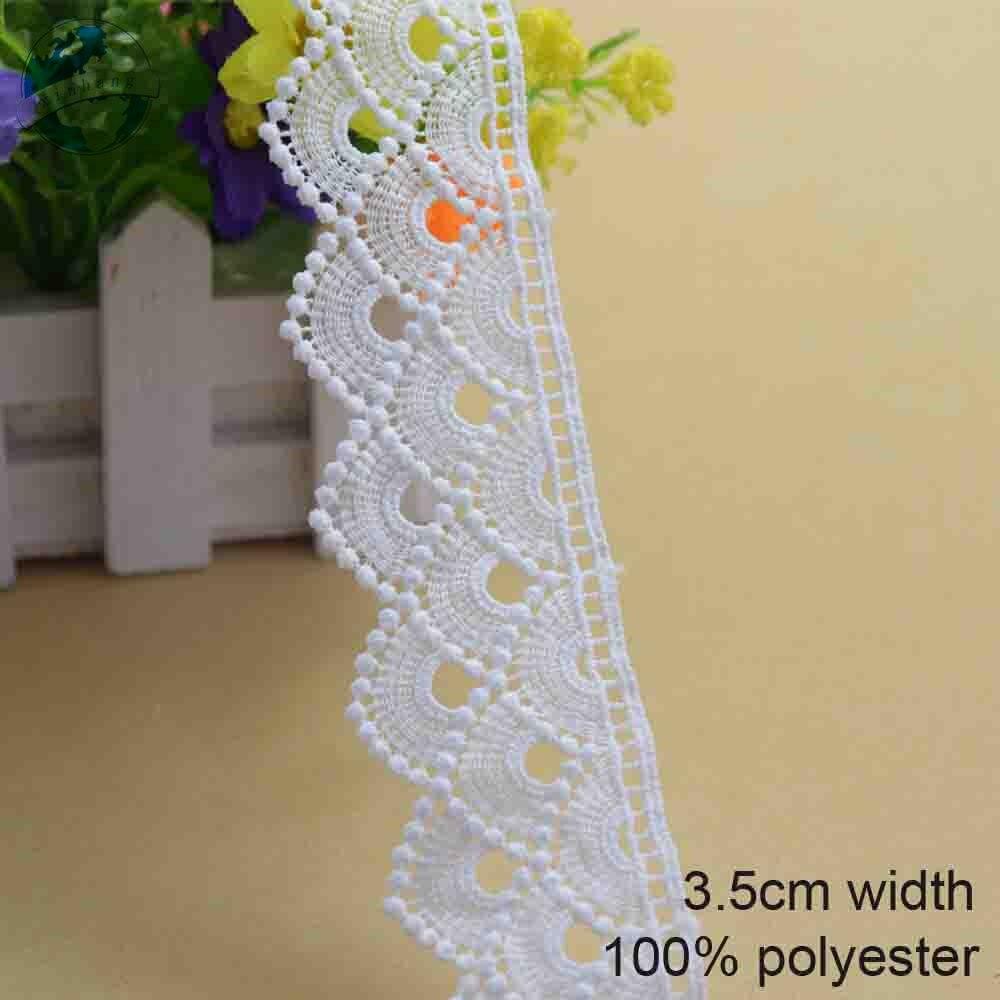 3,5 см белый полиэстер Вышивка Кружева Французский кружевная тесьма гипюр diy планки warp швейная фурнитура #3703