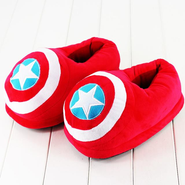 Venta caliente 6 estilos capitán américa totoro fairydust sonic pikachu de la felpa zapatillas de invierno de interior zapatillas de felpa de dibujos animados domo