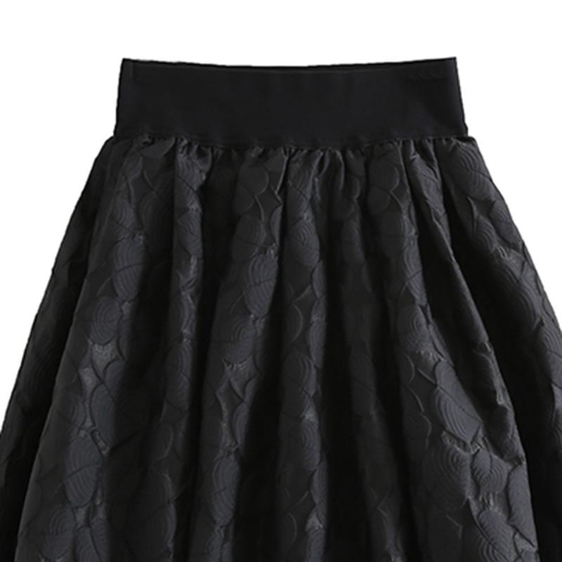 Casual Mujeres Mid Cintura Verano calf Dll2995 Nueva Falda Black Elástica Llegada Encuentro De Sólido Color Todos 2019 xitao Primavera Moda 50Izqz