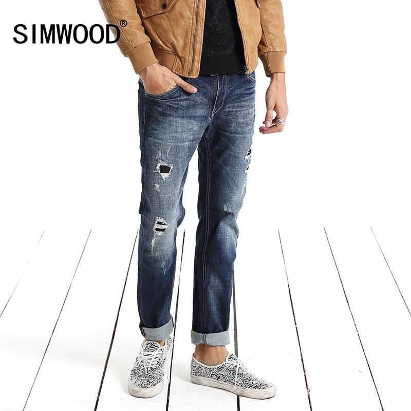 Simwood Jeans Men 2017 New Brand Clothing Fashion Solid Slim Fit  Plus Size Mid Straight Hole Denim Pants Free Shipping SJ636 сковорода нмп скандинавия 28см литой алюм антипр пок е
