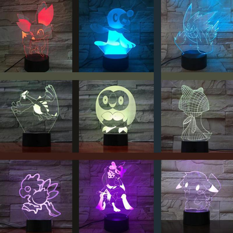 Pokemon Go Pikachu Figure Kids 3d Nightlight Led Bedside Atmosphere Colorful LED Light Child Holiday Gift 3d Lamp