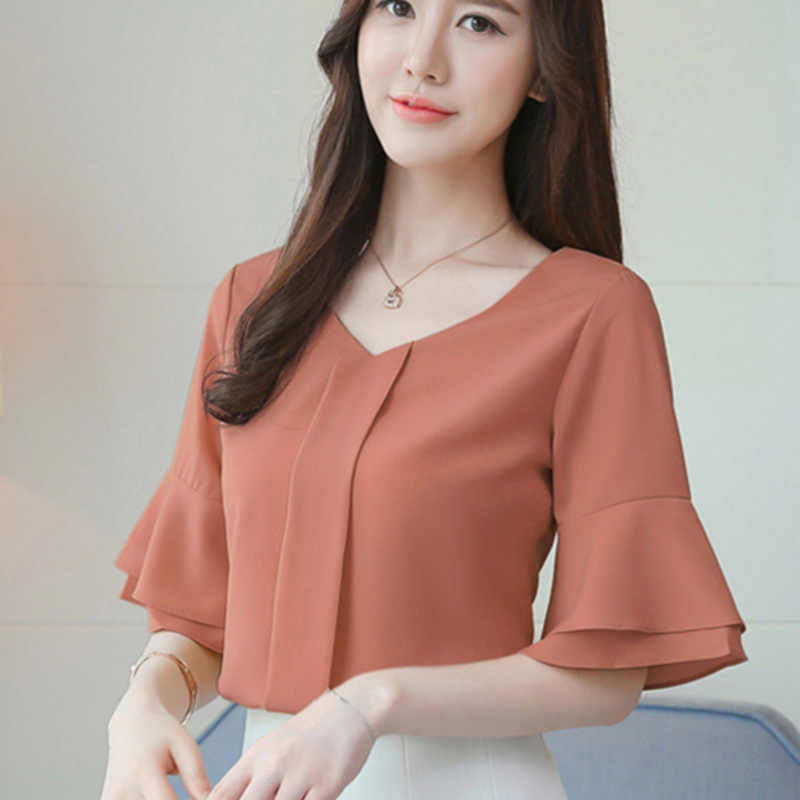 d52a4a90412 Women Tops And Blouses 2018 Summer Chiffon Blouse Short Flare Sleeve  Fashion Ladies Shirts Casual Blusa