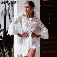 BeAvant A line hollow out women summer dresses Elegant flare sleeve cotton dress ladies O neck bohemian blue white short dress
