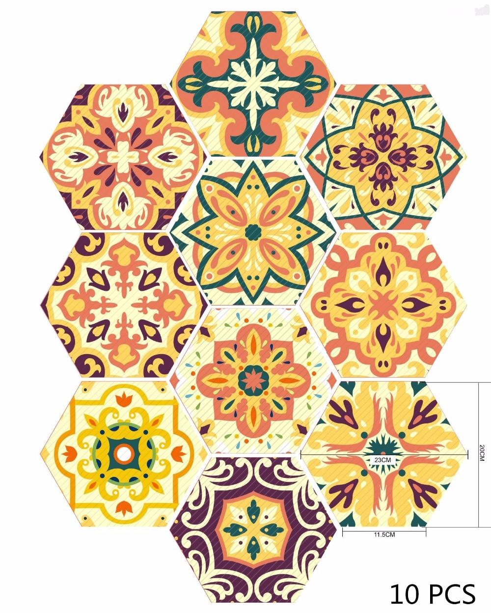 10Pcs Moroccan Style Hexagonal 3D Tile Sticker Creative PVC ...