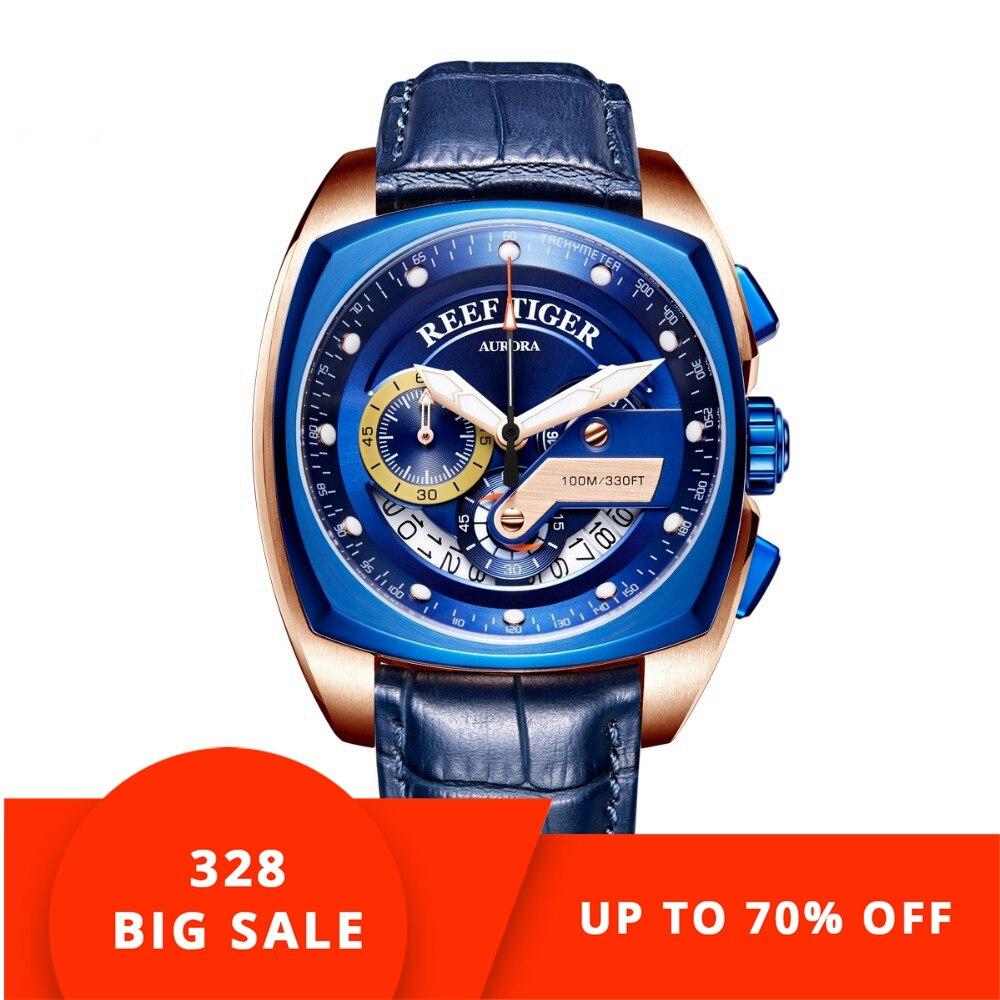 2018 Риф Тигр/RT Лидирующий бренд спортивные часы для мужчин Роскошные Синие часы кожаный ремешок водостойкие часы Relogio Masculino RGA3363