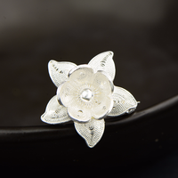 Real Pure 925 Sterling Silver Jasmine Flower Brooch For Women Personalized Brooch Charm Pendulum