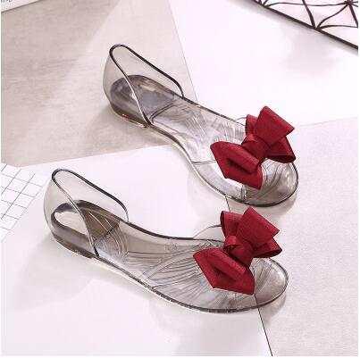 770235c87 Online Shop Students Summer Flats Sandals Jelly Slippers Flip Flops Plastic  Shoes Sandals Cute Ladies Slippers Bowtie Beach Shoes