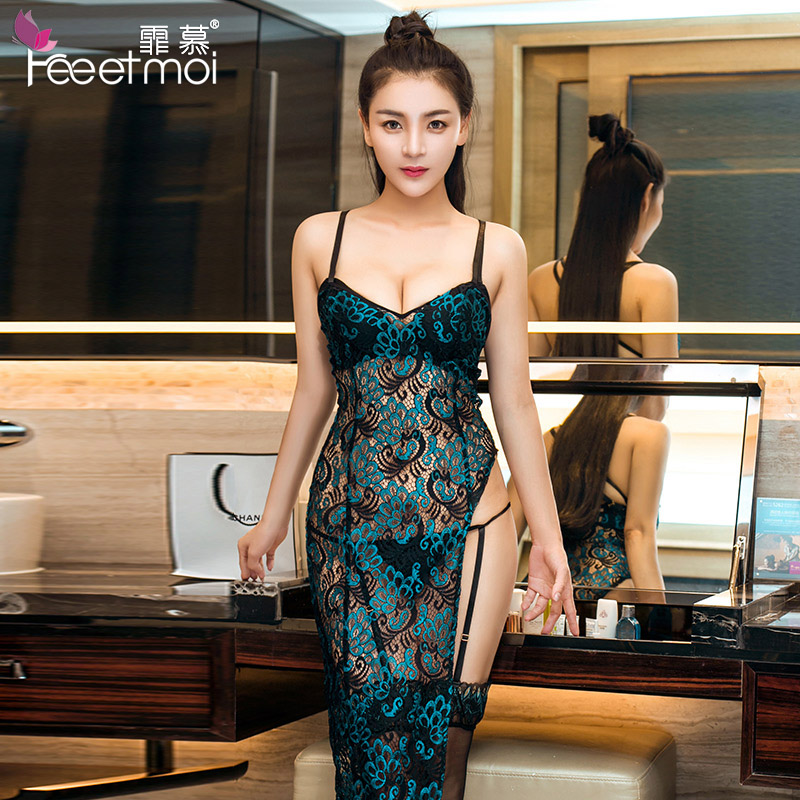 Womens Sexy Lingerie Dress Long Sleepwear Underwear Lace Embroidery Nuisette Lenceria Sexy Hot Erotic Hollow Backless Pajamas
