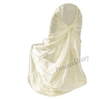 5 Pieces Self Tie Satin Chair Cover Wedding Banquet Hotel Party Decoration Product Supplies 110cm*140cm