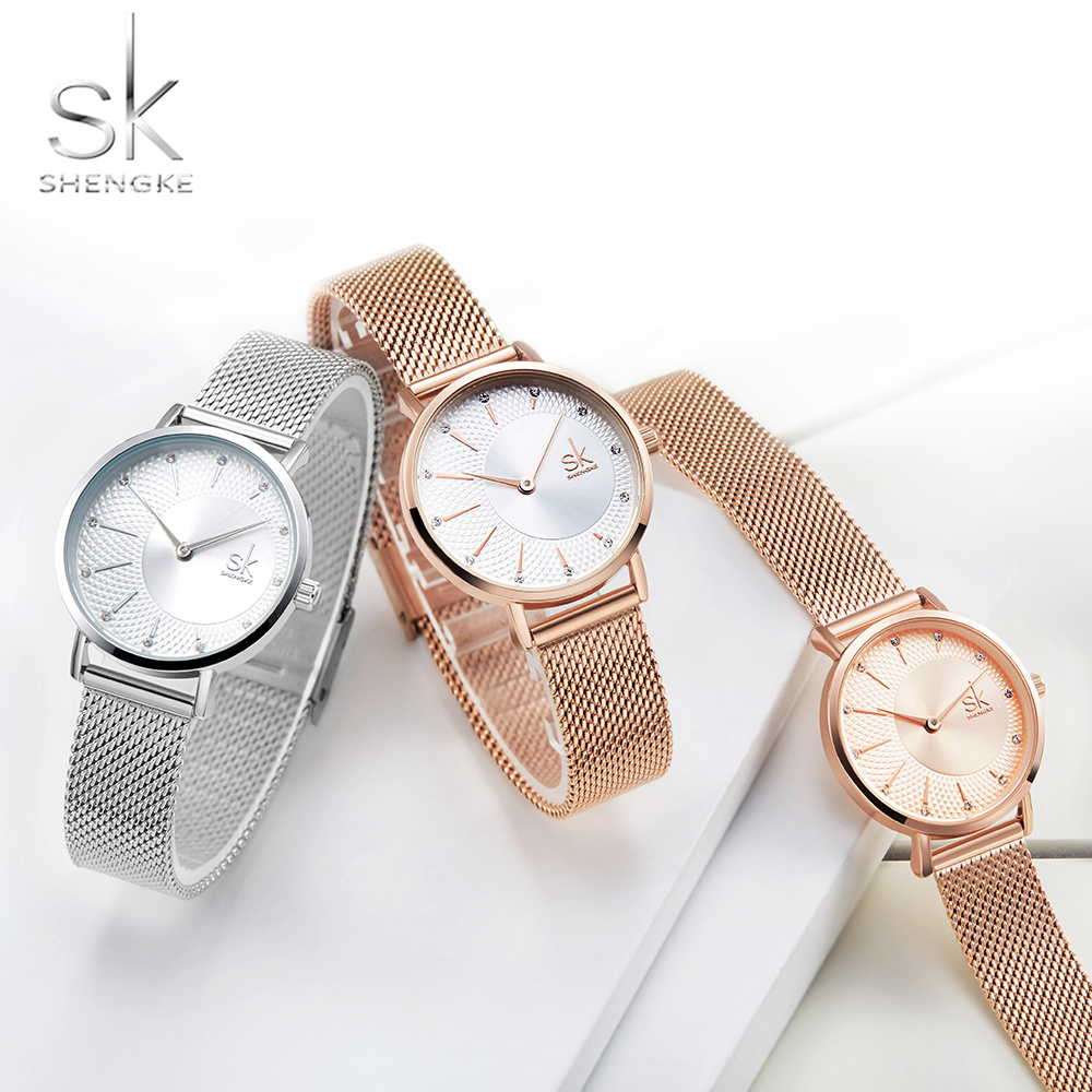 Shengke Women Watches Mesh-Band Quartz Rosegold Luxury New Feminino Relogio Creative title=