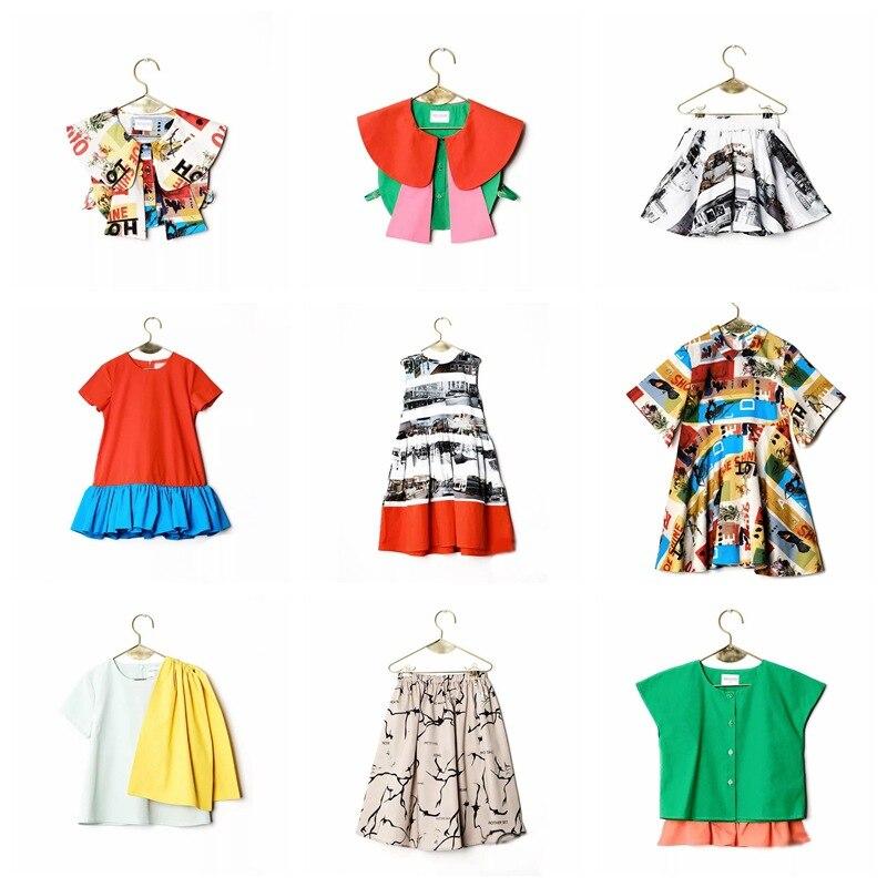 Girls Clothes Sets Summer 2018 Bobo Choses Wolf Rita Graffiti Print Sleeveless T-shirt Skirt Dress Boys Shirt Kids High Quality sleeveless plus size buttoned overlay shirt dress
