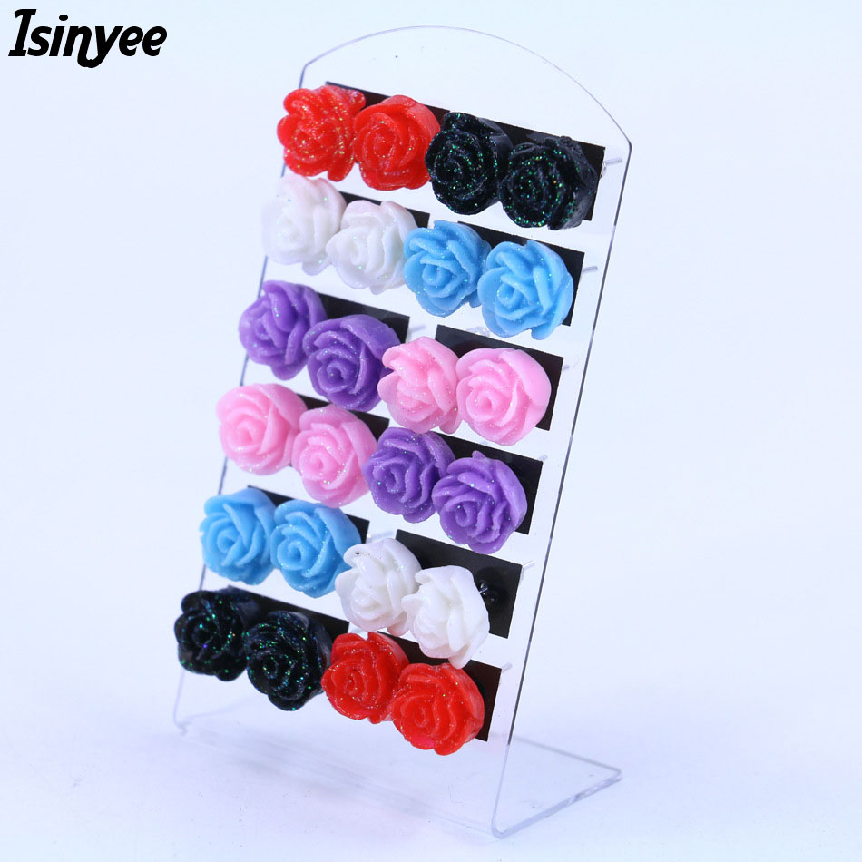 ISINYEE Resin Shiny Rose Flower Stud Earrings Fashion Random Mixed Color Earr Jewelry For Girls Kids 12 pair/lot Small Brincos
