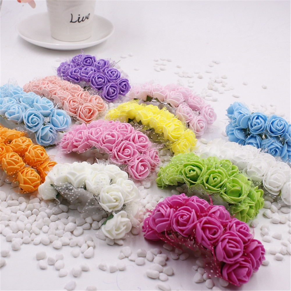 12pcs Artificial Flowers For Wedding Party Supplies Car