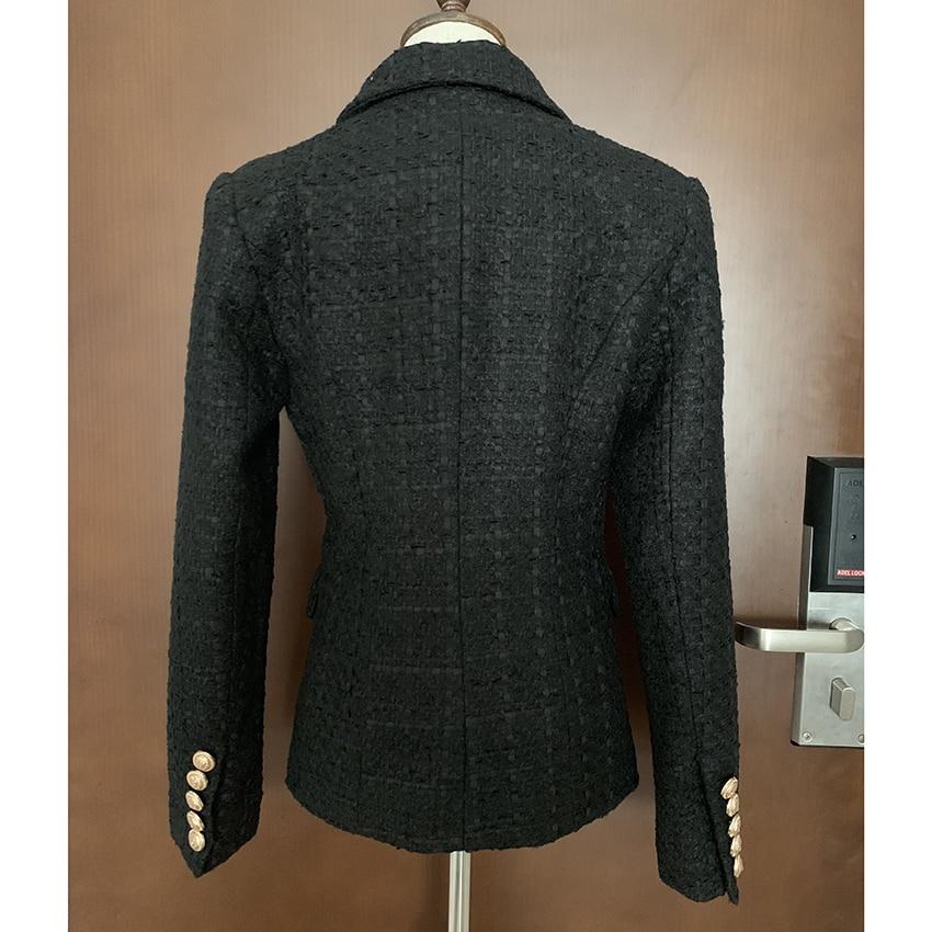 Kadın Giyim'ten Blazerler'de YÜKSEK KALITE Yeni Moda 2019 Tasarımcı Blazer kadın Kruvaze Aslan Düğme Tweed Blazer Ceket'da  Grup 3