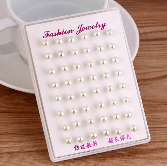 Fashion 24 pairs/set Elegant Milky White Pearl Earrings Girls Ear Stud 4mm 6mm 8mm Size Beads Accessories Jewelry Women Brincos