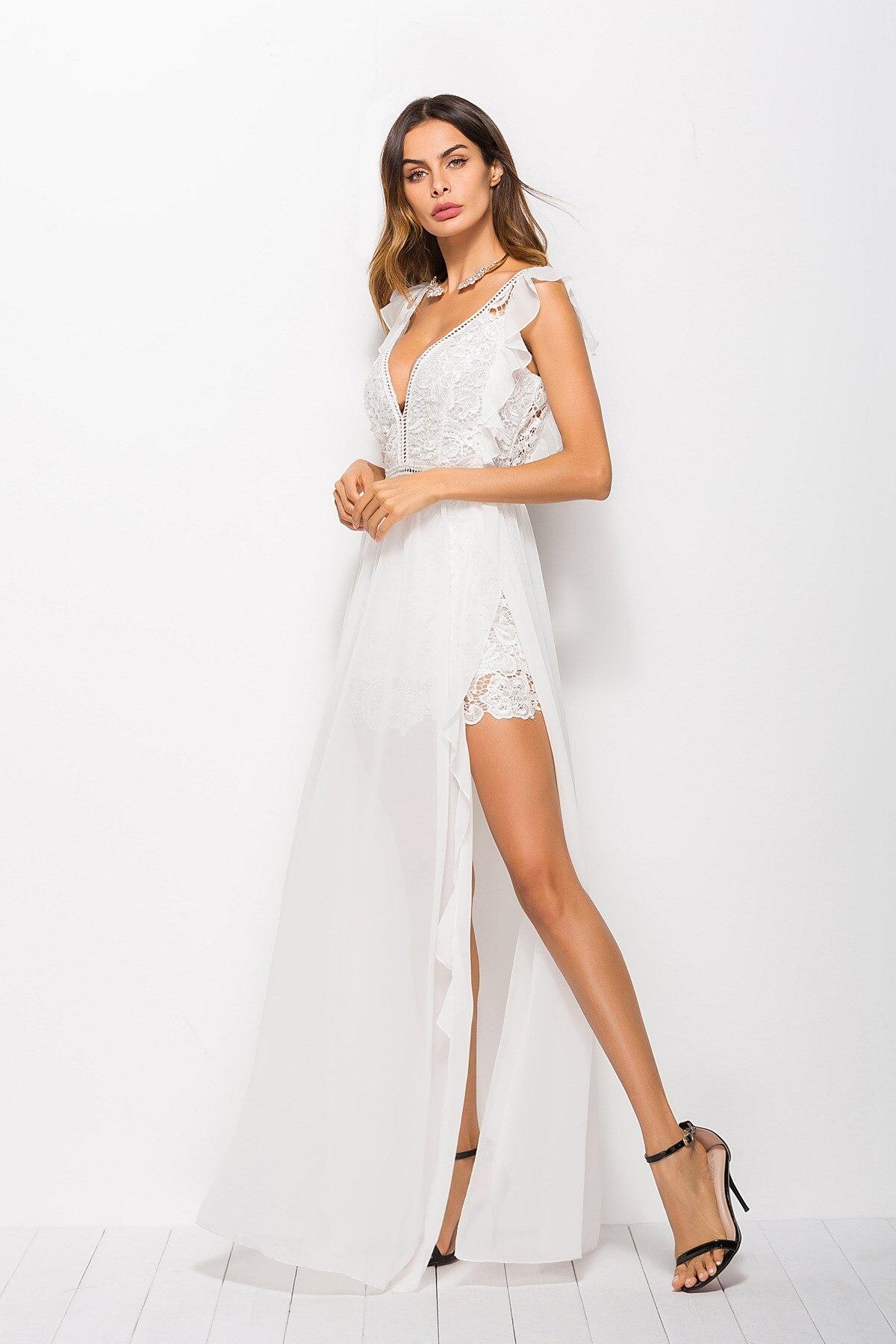 a705caebe98 Blanc V Longue Blanche 2018 En Maxi De Soie Split Robe Robes À Sans  Encolure Out Dentelle Haut Femmes Volants Femme Mousseline Sexy ...