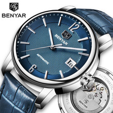 купить BENYAR 2018 New Fashion Top Luxury Brand Leather Watch Automatic Men Wristwatch Men Mechanical Steel Watches Relogio Masculino по цене 2344.07 рублей