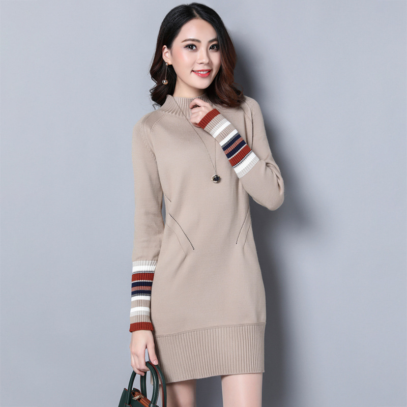 Winter Spring Warm Knitted Dresses For women half-high collar Pullover sweater long bottoming shirt loose primer chic round collar color mixture pocket design loose pullover sweater for women
