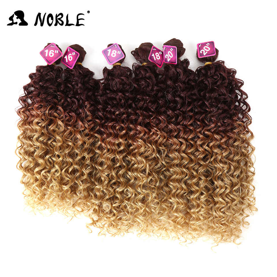 Noble Afro Kinky Curly Hair Weave 16-20 inch 7Pieces/lot Synthetic Hair Bundles With Closure Middle Part Lace Front Closure