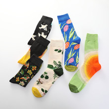 New European and American Fashion Mid Socks Men Women Pigeons Graffiti Flower Bird Sketches Cotton Couple Funny